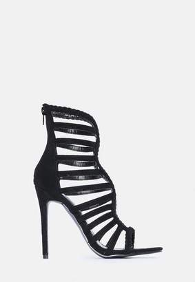 Missguided Black Faux Suede Plaited Multi Strappy Heels