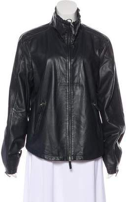 Armani Collezioni Leather Zip-Up Jacket