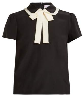RED Valentino Pussy Bow Silk Crepe Blouse - Womens - Black White