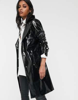 Glamorous vinyl trench coat