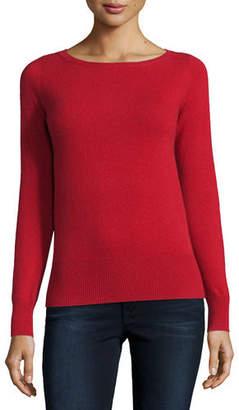 Neiman Marcus Cashmere Collection Long-Sleeve Bateau-Neck Cashmere Top $250 thestylecure.com