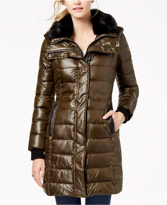 French Connection Faux-Fur-Collar Puffer Coat
