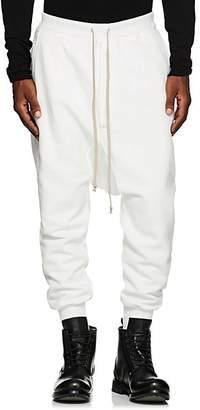 Rick Owens Men's Prisoner Cotton Fleece Drop-Rise Sweatpants - White