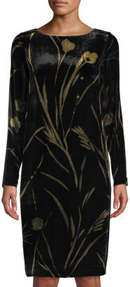 Lafayette 148 New York Loribel Floral-Print Velvet Sheath Dress