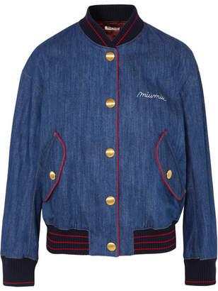 Embroidered Denim Bomber Jacket - Mid denim
