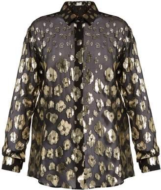 Saint Laurent Floral fil-coupé silk-blend chiffon blouse