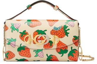 Gucci Mini Zumi Strawberry Print Leather Crossbody Bag