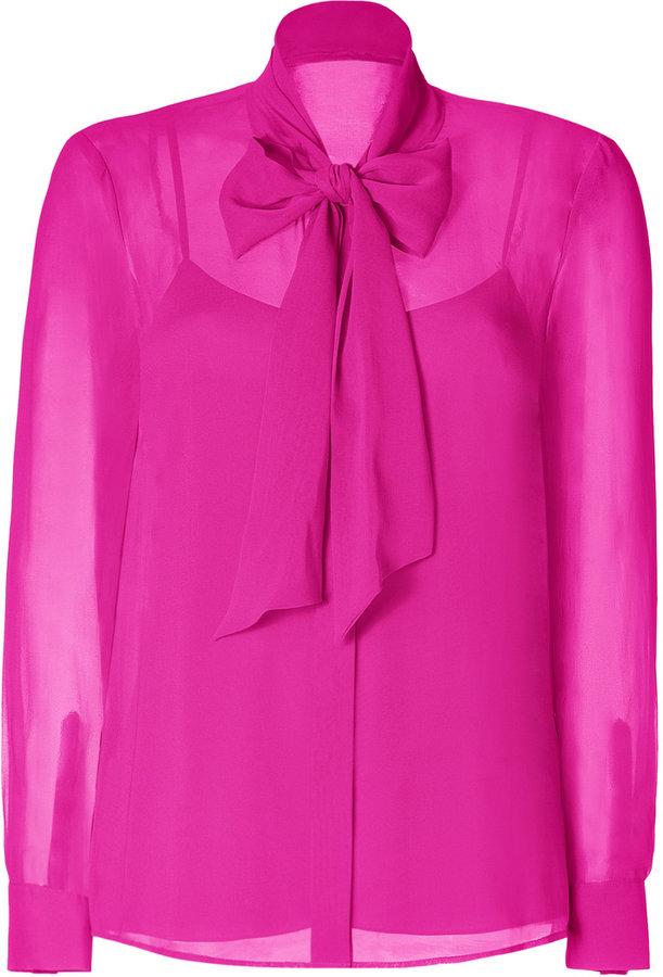 DKNY Fuchsia Silk Blouse with Tie Collar