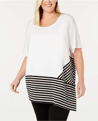 Calvin Klein Plus Size Striped-Trim Asymmetrical Top