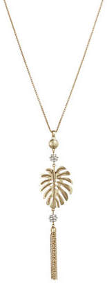 Lucky Brand Two-Tone Palm Leaf Pendant Necklace