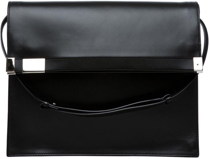 Maison Martin Margiela Flap Over Shoulder Bag in Black