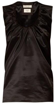 Bottega Veneta Gathered Scoop Neck Satin Top - Womens - Black
