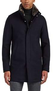 Herno Men's Fur-Trimmed Wool-Blend Coat - Navy