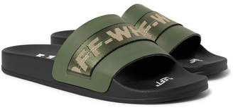 Off-White Off White Industrial Logo Webbing-trimmed Rubber Slides - Army green