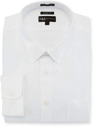 Neiman Marcus Trim-Fit Non-Iron Dobby-Textured Dress Shirt, White