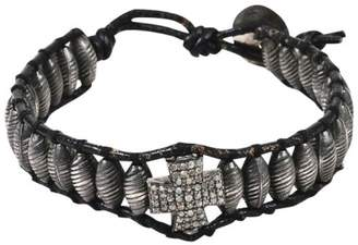 Chan Luu Black 925 Sterling Silver/Leather & Diamond Cross Beaded Cord Bracelet