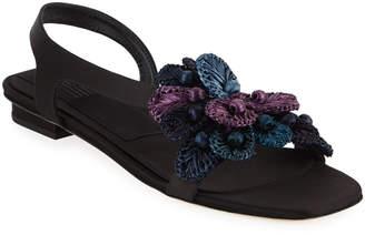 Sanayi313 Zinnia Embroidered Flat Sandals, Black