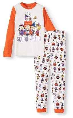Peanuts Girls' Halloween Squad Ghouls Tight Fit Cotton 2-piece Pajama Set