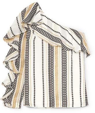 Zeus+Dione ZeusDione - Artemis One-shoulder Striped Silk-blend Gauze Top - Ivory