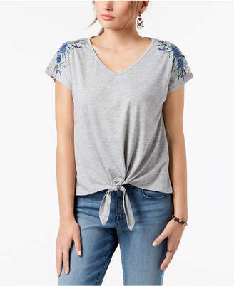 Style&Co. Style & Co Embroidered Tie-Front Top, Created for Macy's