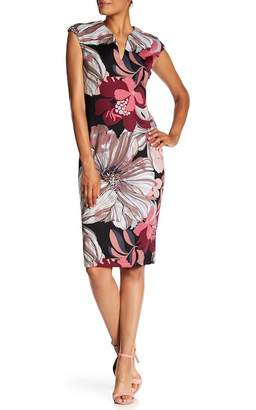 Connected Apparel Floral Print Split Neck Dress