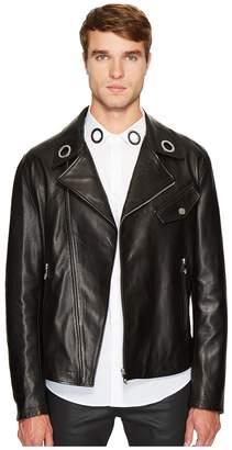 Versace Leather Moto Jacket Men's Coat