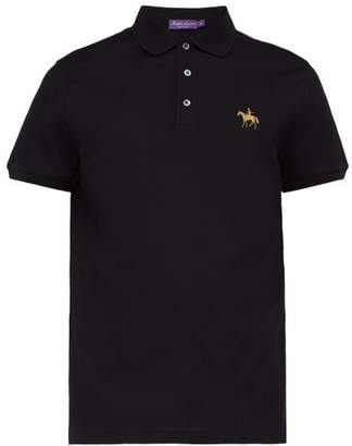 Ralph Lauren Purple Label Logo Embroidered Cotton Pique Polo Shirt - Mens - Black