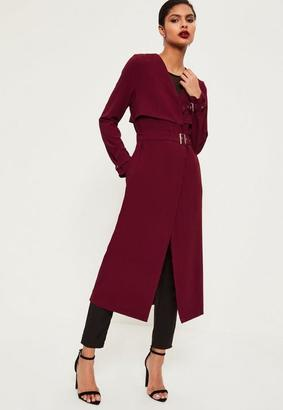 Burgundy Crepe Maxi Belted Duster Coat $48 thestylecure.com