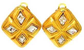 Chanel Gold Tone Metal Rhinestone Earring