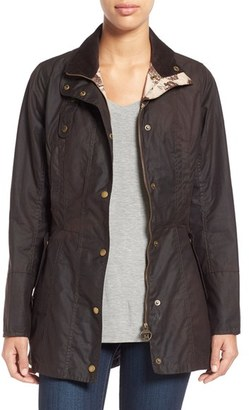 Women's Barbour 'Holsteiner' Skirted Waxed Cotton Jacket $429 thestylecure.com