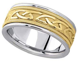 Celtic Allurez Hand Made Wedding Band in 18k Two Tone Gold (8mm)