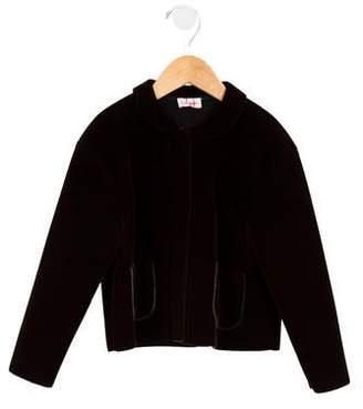 Il Gufo Girls' Round Collar Button-Up Jacket