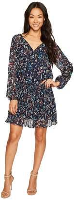 Tahari ASL Petite Dropwaist Floral Chiffon Dress with Sleeve Women's Dress