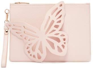 Sophia Webster Flossy Butterfly Leather Clutch - Womens - Light Pink