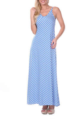 WHITE MARK White Mark Backless Sleeveless Stripe Maxi Dress