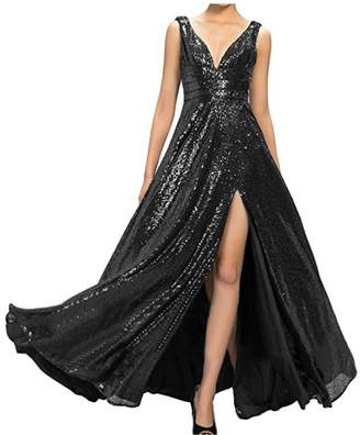 CIRCLEWLD Sequin Bridesmaid Dresses With Split Plunging V Neck Evening Gown Black Size 20W