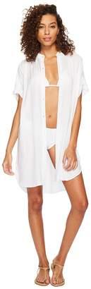 Echo Solid Shirtdress Cover-Up Women's Swimwear