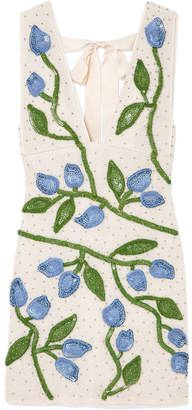 Ganni Orsay Embellished Chiffon Mini Dress - White