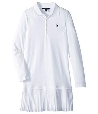 452931776 Polo Ralph Lauren Pleated Knit Polo Dress (Little Kids/Big Kids)