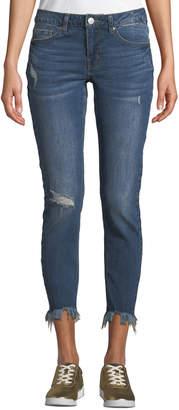 Dex Mid-Rise Shredded-Hem Ankle Skinny Jeans