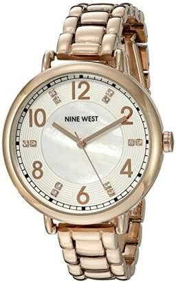 Nine West Women's NW/1732WMRG Swarovski Crystal Accented -Tone Bracelet Watch