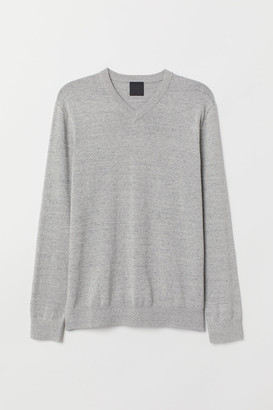 H&M V-neck Cotton Sweater - Gray