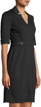 Neiman Marcus Ponte Sheath Dress with Zip Details at Waist
