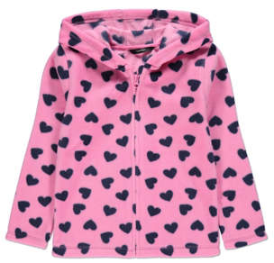 George Pink Heart Print Fleece Zip-Up Hoodie