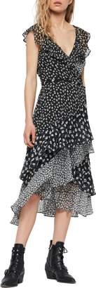 AllSaints Kari Scatter Print Ruffle Wrap Dress