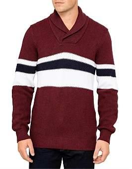 Armani Exchange Fantasy Stitch Stripe Pullover Shawl Collar Knit
