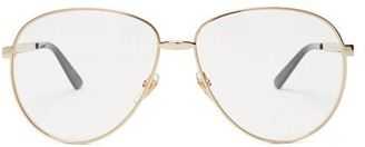 Gucci Aviator Frame Glasses - Mens - Gold