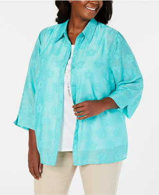 Alfred Dunner Plus Size Classics Sheer Layered-Look Top