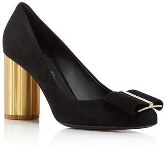 Salvatore Ferragamo Women's Suede Floral Heel Pumps