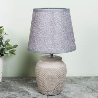 White Mint - Moroccan Style Ceramic Lamp With Grey Shade